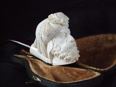 meerschaum pipe carving bearded man bowl