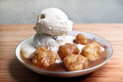 maple dumplings syrup vanilla ice cream canadian dessert