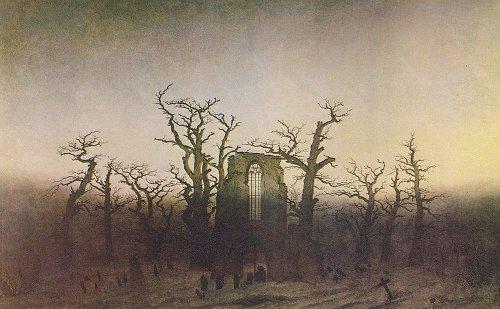 Abbey church in an oak forest illustration.