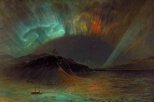 Aurora borealis painting by Frederic Edwin Church.