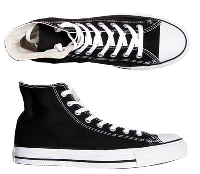black converse all stars canvas shoes top side view