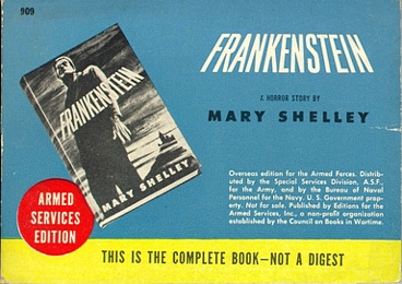 Book cover of Frankenstein by Mary Shelley.