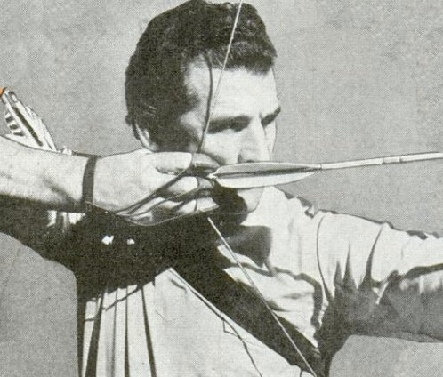 vintage man pulling back bow and arrow draw sting