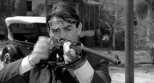 gregory peck atticus finch holding gun sighting
