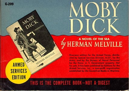Book cover of Moby Dick by Herman Melville.