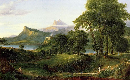 Pastoral state landscape painting.