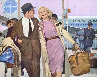 vintage man woman in airport pan am airplane
