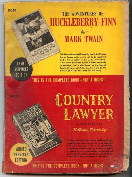 Book cover of country lawyer by Huckleberry Finn and Mark Twain.