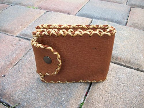 The side view of leather wallet.