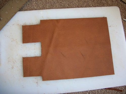 Cut piece placed for leather wallet.