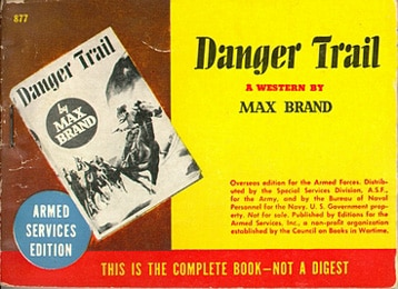 Book cover of Danger Trail by Max Brand.