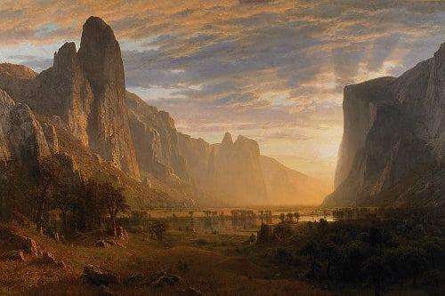 Yosemite valley painting by Albert Bierstadt.