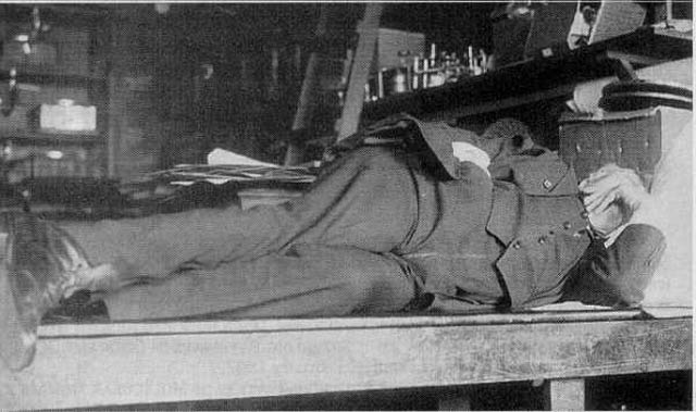Thomas Edison sleeping on table.