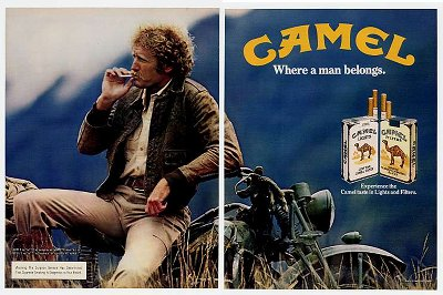 Man sitting on a bike camel vintage advertisement.