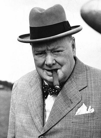 winston churchill bowtie cigar hat suit
