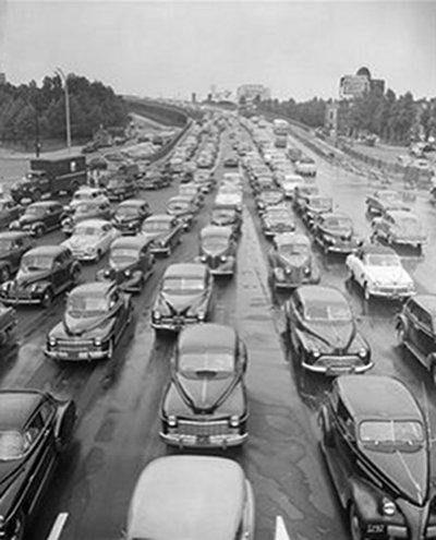 vintage highway commute traffic jam 1940s 1950s