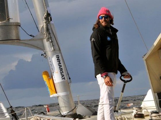 David de Rothschild adventurer Voyager on catamaran ocean