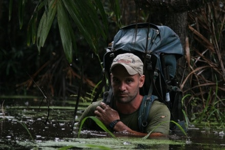 ed stafford explorer in river with pack amazon