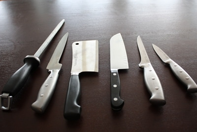 kitchen knives on counter cleaver chef's filet paring