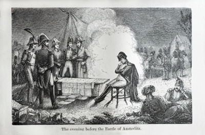 Napoleon Bonaparte sleeping on chair in tribe illustration.