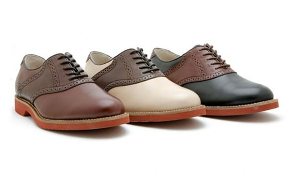 examples of saddle shoes leather strap brown pearl