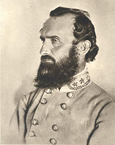 stonewall jackson side portrait drawing beard uniform