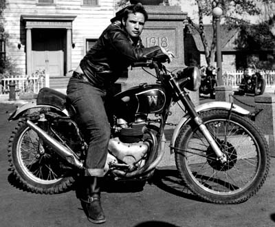 the wild one marlon brando riding on motorcycle