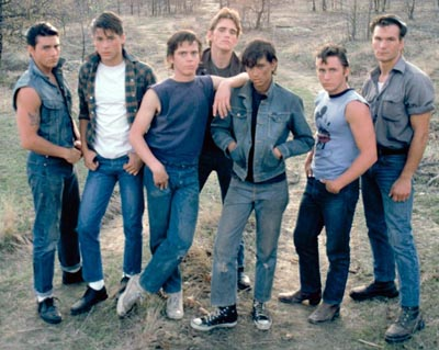 the outsiders cast photo wearing jeans denim