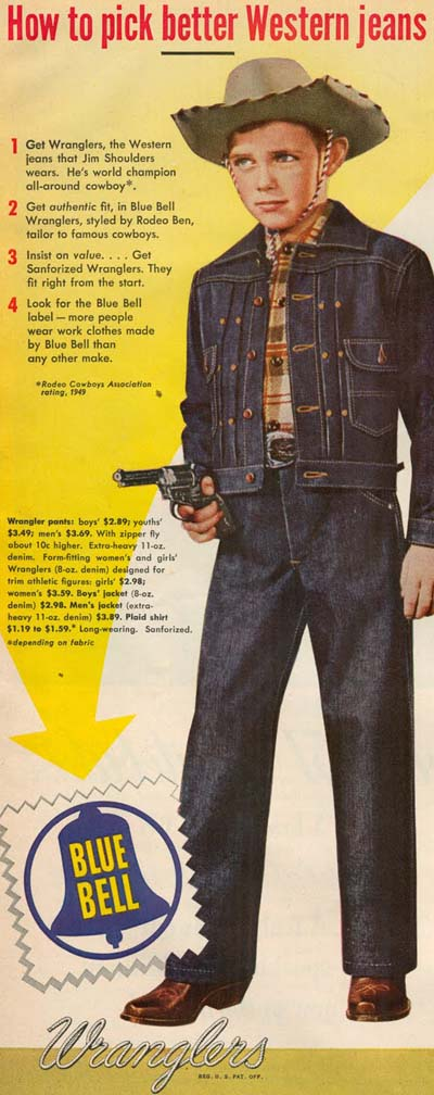 vintage wrangler jeans denim ad advertisement young boy