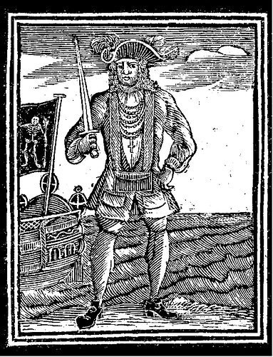 "Bartholomew ""Black Bart"" Roberts pirate wood cut engraving"