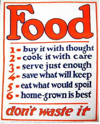 vintage save money poster food homegrown waste cook