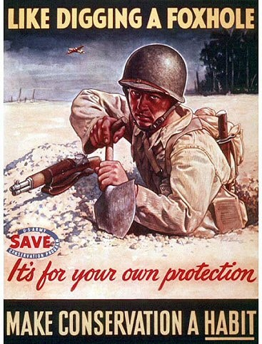 vintage save money conservation poster soldier digging foxhole