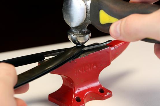 restoring vintage straight razor ball peen hammer pins