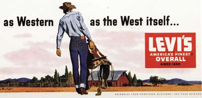 vintage levis jeans denim ad advertisement western