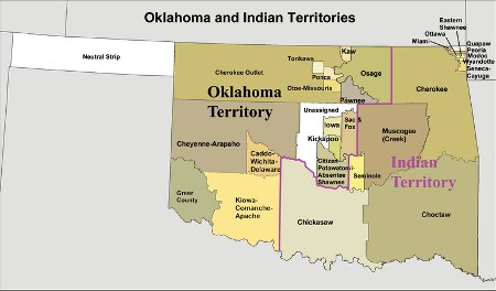 oklahama indian territories late 1800s map