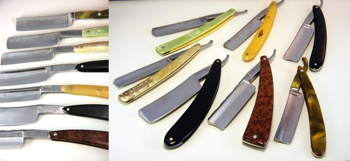 collection of vintage antique straight razors
