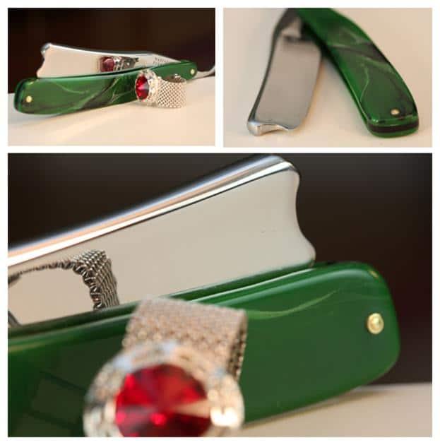 Antique green straight razor.