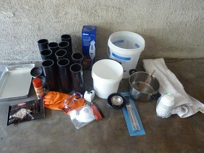 Materials needed for homemade soap bars.