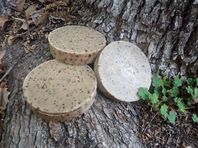 manly diy homemade soap bars on tree log