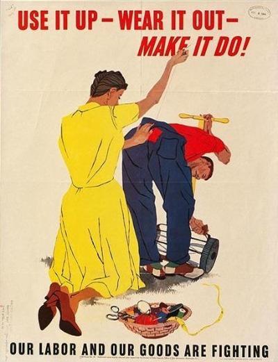 vintage save money poster women sewing men's pants