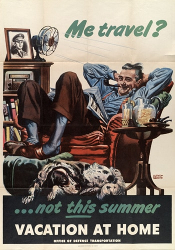 vintage save money poster travel man sitting in chair