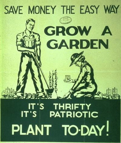 vintage save money poster grow a garden patriotic