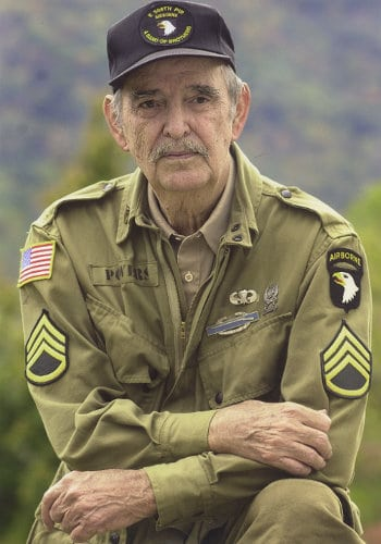 shifty powers older elderly in green military uniform