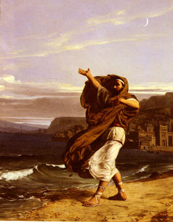 Demosthenes practicing speech delivery by the ocean