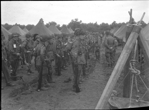 vintage military men standing in ranks field wwii