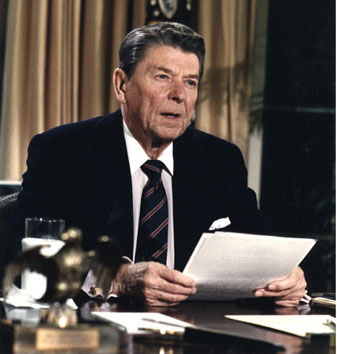 ronald reagan speech sitting at desk challenger explosion