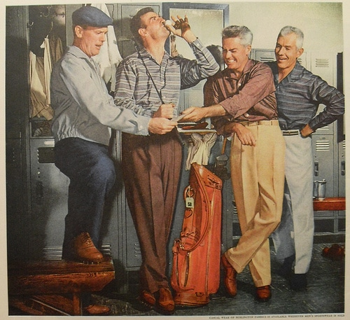 A painting of men hanging out in golf clubhouse.