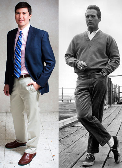 Business and casual comparison of vintage vs modern man.