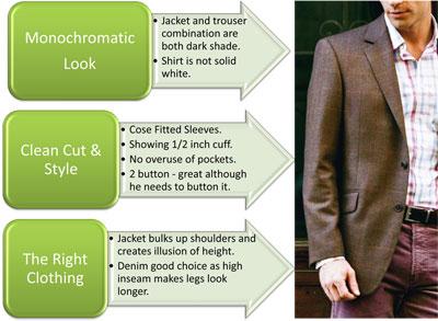 Short man dressing taller image.