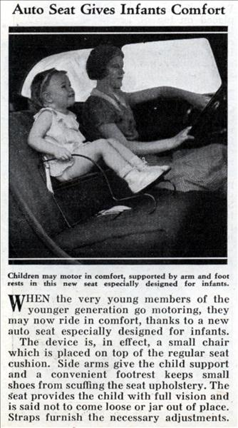 auto seat baby infant car seat vintage news article